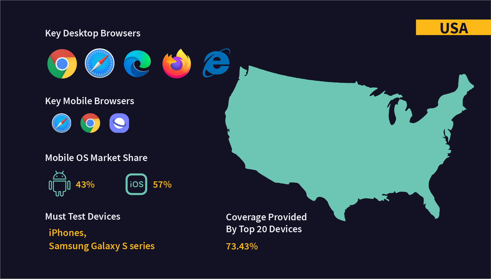 Fragmentation in OS, browsers, and devices in USA