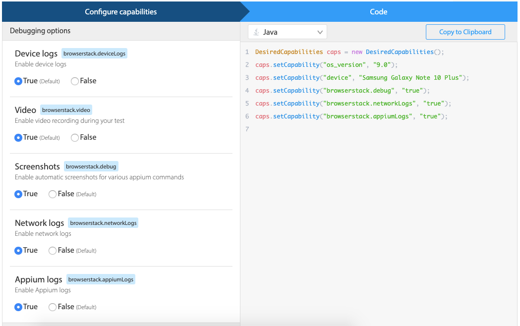 Appium Capabilities Builder